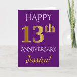 [ Thumbnail: Purple, Faux Gold 13th Wedding Anniversary + Name Card ]