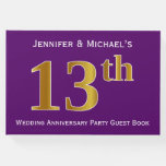 [ Thumbnail: Purple, Faux Gold 13th Wedding Anniversary Party Guest Book ]