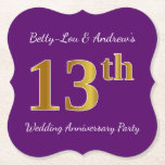 [ Thumbnail: Purple, Faux Gold 13th Wedding Anniversary Party Paper Coaster ]