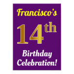 [ Thumbnail: Purple, Faux Gold 14th Birthday Celebration + Name Invitation ]