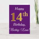 [ Thumbnail: Purple, Faux Gold 14th Birthday + Custom Name Card ]