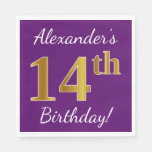 [ Thumbnail: Purple, Faux Gold 14th Birthday + Custom Name Paper Napkin ]