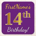 [ Thumbnail: Purple, Faux Gold 14th Birthday + Custom Name Paper Coaster ]