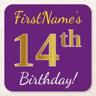 Purple, Faux Gold 14th Birthday + Custom Name Square Paper Coaster