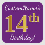 [ Thumbnail: Purple, Faux Gold 14th Birthday + Custom Name Sticker ]