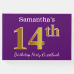 [ Thumbnail: Purple, Faux Gold 14th Birthday Party; Custom Name Guest Book ]