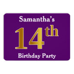 [ Thumbnail: Purple, Faux Gold 14th Birthday Party; Custom Name Invitation ]