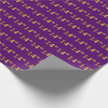 [ Thumbnail: Purple, Faux Gold 14th (Fourteenth) Event Wrapping Paper ]
