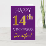 [ Thumbnail: Purple, Faux Gold 14th Wedding Anniversary + Name Card ]