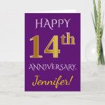 [ Thumbnail: Purple, Faux Gold 14th Wedding Anniversary + Name Card ]