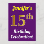 [ Thumbnail: Purple, Faux Gold 15th Birthday Celebration + Name Invitation ]