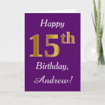 [ Thumbnail: Purple, Faux Gold 15th Birthday + Custom Name Card ]