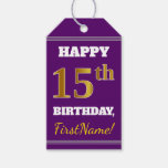 [ Thumbnail: Purple, Faux Gold 15th Birthday + Custom Name Gift Tags ]