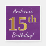 [ Thumbnail: Purple, Faux Gold 15th Birthday + Custom Name Napkin ]