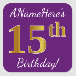 [ Thumbnail: Purple, Faux Gold 15th Birthday + Custom Name Sticker ]
