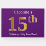 [ Thumbnail: Purple, Faux Gold 15th Birthday Party; Custom Name Guest Book ]