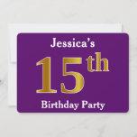 [ Thumbnail: Purple, Faux Gold 15th Birthday Party; Custom Name Invitation ]