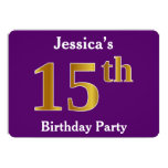 [ Thumbnail: Purple, Faux Gold 15th Birthday Party; Custom Name Invitation ]