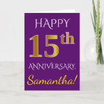 [ Thumbnail: Purple, Faux Gold 15th Wedding Anniversary + Name Card ]
