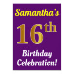 [ Thumbnail: Purple, Faux Gold 16th Birthday Celebration + Name Invitation ]