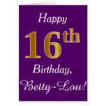 [ Thumbnail: Purple, Faux Gold 16th Birthday + Custom Name ]