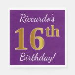 [ Thumbnail: Purple, Faux Gold 16th Birthday + Custom Name Paper Napkin ]