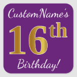 [ Thumbnail: Purple, Faux Gold 16th Birthday + Custom Name Sticker ]
