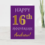 [ Thumbnail: Purple, Faux Gold 16th Wedding Anniversary + Name Card ]