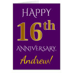 [ Thumbnail: Purple, Faux Gold 16th Wedding Anniversary + Name Card ]