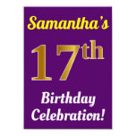 [ Thumbnail: Purple, Faux Gold 17th Birthday Celebration + Name Invitation ]