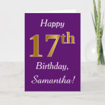 [ Thumbnail: Purple, Faux Gold 17th Birthday + Custom Name Card ]