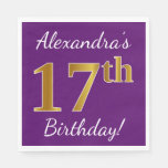 [ Thumbnail: Purple, Faux Gold 17th Birthday + Custom Name Paper Napkin ]