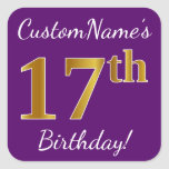 [ Thumbnail: Purple, Faux Gold 17th Birthday + Custom Name Sticker ]