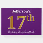 [ Thumbnail: Purple, Faux Gold 17th Birthday Party; Custom Name Guest Book ]