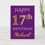 [ Thumbnail: Purple, Faux Gold 17th Wedding Anniversary + Name Card ]