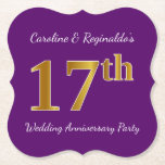 [ Thumbnail: Purple, Faux Gold 17th Wedding Anniversary Party Paper Coaster ]