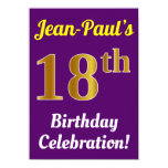 [ Thumbnail: Purple, Faux Gold 18th Birthday Celebration + Name Invitation ]