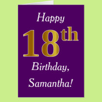 Purple, Faux Gold 18th Birthday   Custom Name Card