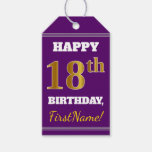 [ Thumbnail: Purple, Faux Gold 18th Birthday + Custom Name Gift Tags ]