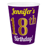 [ Thumbnail: Purple, Faux Gold 18th Birthday + Custom Name Paper Cup ]
