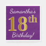 [ Thumbnail: Purple, Faux Gold 18th Birthday + Custom Name Paper Napkin ]