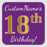 [ Thumbnail: Purple, Faux Gold 18th Birthday + Custom Name Sticker ]