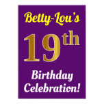 [ Thumbnail: Purple, Faux Gold 19th Birthday Celebration + Name Invitation ]