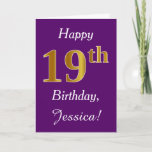 [ Thumbnail: Purple, Faux Gold 19th Birthday + Custom Name Card ]