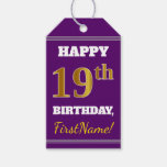 [ Thumbnail: Purple, Faux Gold 19th Birthday + Custom Name Gift Tags ]