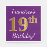 [ Thumbnail: Purple, Faux Gold 19th Birthday + Custom Name Paper Napkin ]
