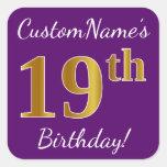 [ Thumbnail: Purple, Faux Gold 19th Birthday + Custom Name Sticker ]
