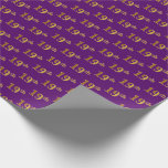 [ Thumbnail: Purple, Faux Gold 19th (Nineteenth) Event Wrapping Paper ]