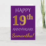 [ Thumbnail: Purple, Faux Gold 19th Wedding Anniversary + Name Card ]