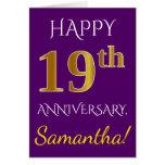 [ Thumbnail: Purple, Faux Gold 19th Wedding Anniversary + Name Card ]